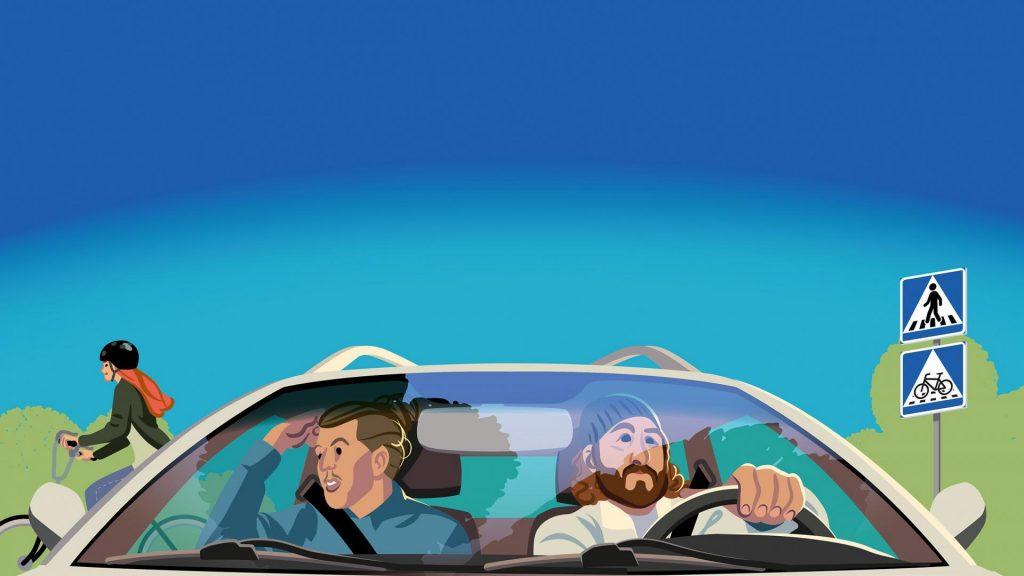 Piirroskuva kahdesta autoilijasta