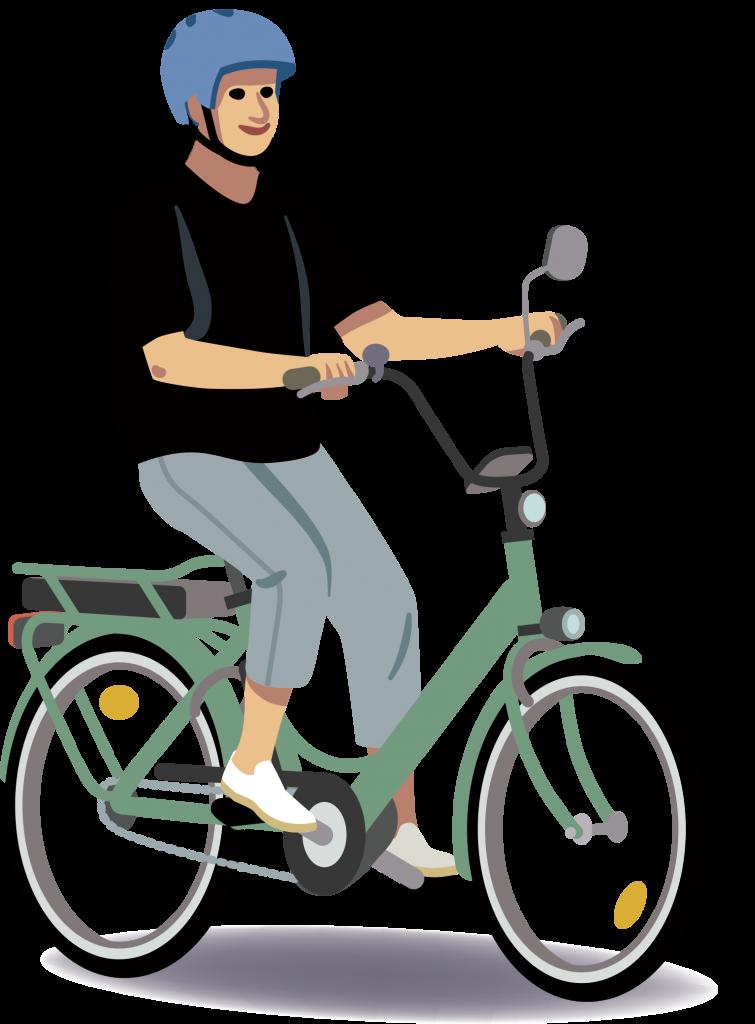 Animoitu kuva sähköpyöräilijästä