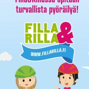 Filla & Rilla juliste lasten turvalliseen pyöräilyyn