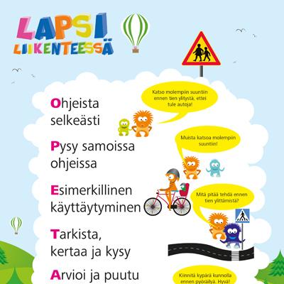 Lapsi liikenteessä -julisteen esimerkkikuva
