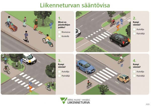 Jalan ja pyöräillen -sääntövisa kertaa tavallisimmat väistämissäännöt