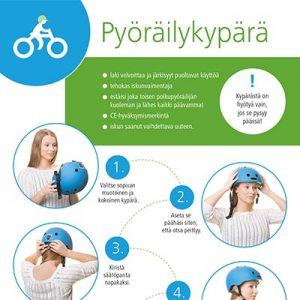 Pyöräilykypärän opaskortissa käydään läpi pyöräilykypärän kiinnittämisohjeet ja annetaan tietoa kypärän käytön tärkeydestä.