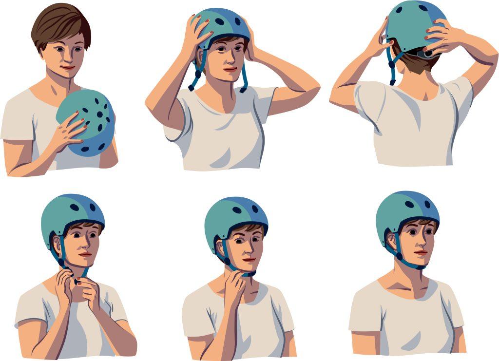 Sopivan kokoinen ja päähän hyvin istuva kypärä suojaa parhaiten. Erilaisia kypärämalleja kokeilemalla löytää parhaiten omaan päähän mukavasti istuvan kypärän.
