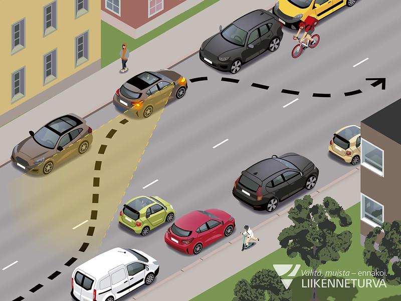 Taajamien kaksisuuntaisilla teillä sallitaan pysäköinti ja pysäyttäminen myös vasemmalle puolelle tietä 1.6.2020 alkaen. Pysäköi vasemmalle puolelle tietä ainoastaan silloin, kun se ei vaaranna eikä haittaa muita tienkäyttäjiä. Kuva: Jussi Kaakinen/Liikenneturva. Kuvittajan nimi ja lähde mainittava kuvaa käytettäessä.